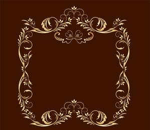 European Gorgeous Fine Golden Lace Vector