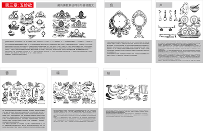 Tibetan Buddhist Symbols And Artifacts Diagram Of The Three Five Wonderful Lust Vector