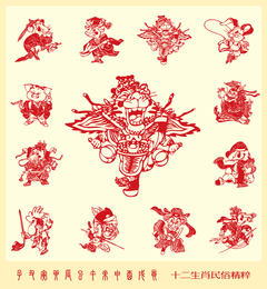 Papercut Style Of Beijing Opera 12 Vector Zodiac