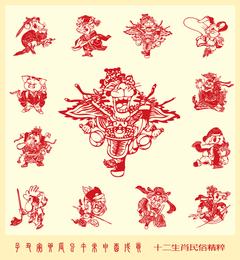 Papercut Style Of Beijing Opera 12 Zodiac Vector
