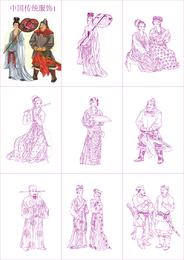 Vetor de roupas tradicionais chinesas 1
