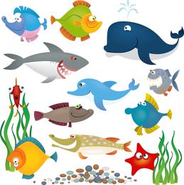 Mar Animais Vector Set