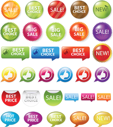 Verkaufs-Einkaufen-Marken und Zeichen-Vektorgrafiken