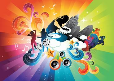 Die Tendenz des Farbvektor-Thema-Musik-Plakats