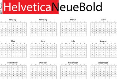 Escritorio tipográfico calendario helvetica neue