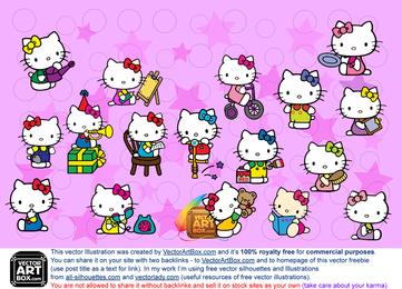 Conjunto de ilustrações de Hello Kitty