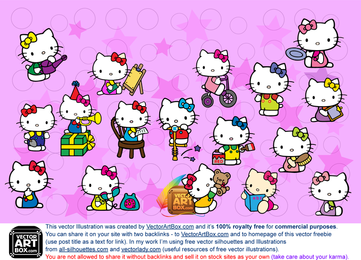 Hello Kitty illustrations set