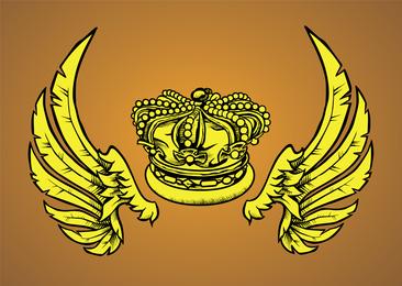 Vector de corona real con alas