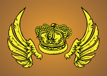 Winged Royal Crown Vector