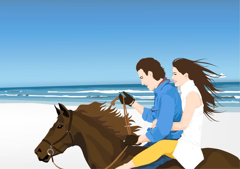 Jinetes en la playa