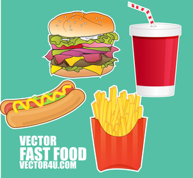 Illustrated fast food items