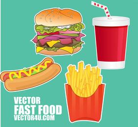 Itens de fast food ilustrados