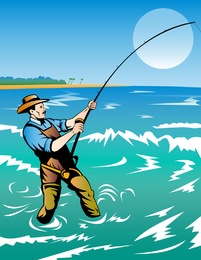 Hombre de pesca ilustración