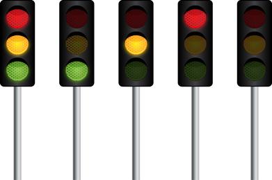 Vector semáforo em posições diferentes