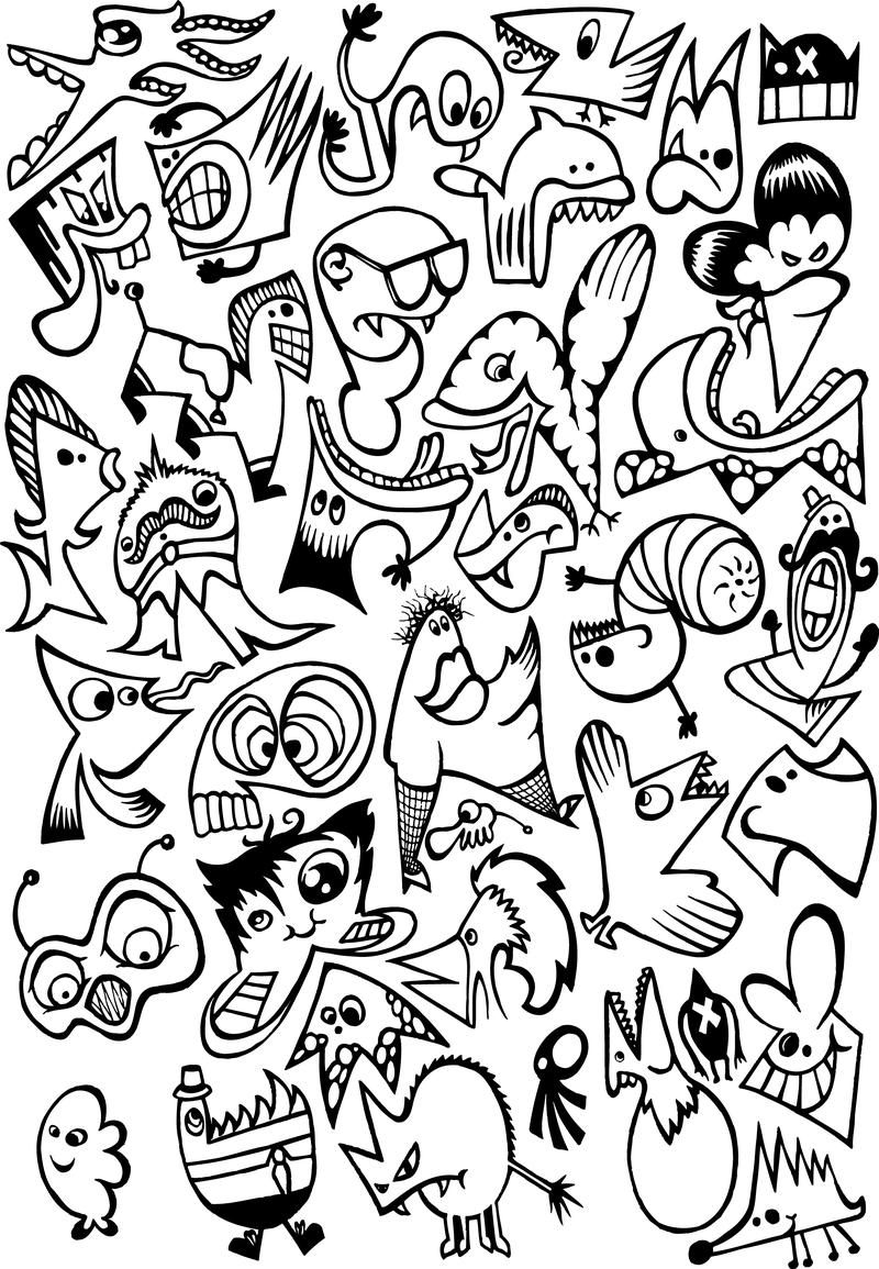 Crazy Doodle Characters Vector Download