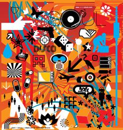 Conjunto de diseños misceláneos mixtos de ilustración