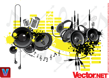 Music Equipement Vector Microphone Vector Headset Vector Audio Vector Earphone Vector