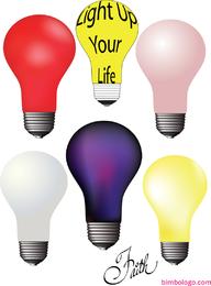 Set of 6 colorful lightbulbs