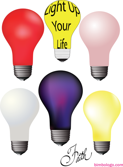 Set of 6 colorful lightbulbs