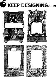 Antike Rahmen und Grenzvektor