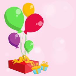 Ballons mit und Geschenk