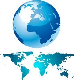 Globo azul y mapa del mundo