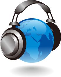 3d tierra globo con auriculares vector gráfico
