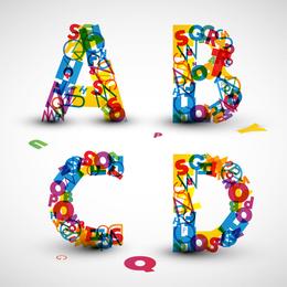 Las letras creativas diseñadas 09 vector
