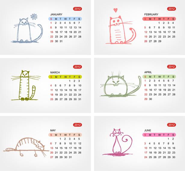2012 Calendar Template 02 Vector