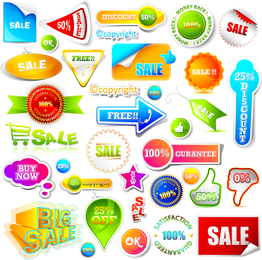 Big collection of sale labels