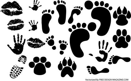 Huellas de labios zapato huellas dactilares vector