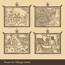 Vector de dibujo lineal de antiguos extranjeros