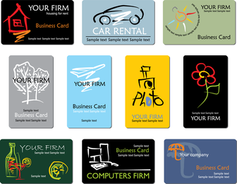 Refined Draft Design Business Cards Business Lines 01 Vector