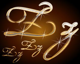 Sparkling Metallic Handwritten Letters Vector