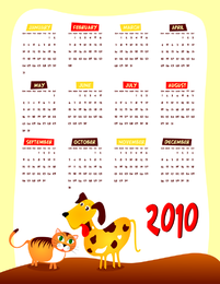 Lovely 2010 Calendar Vector