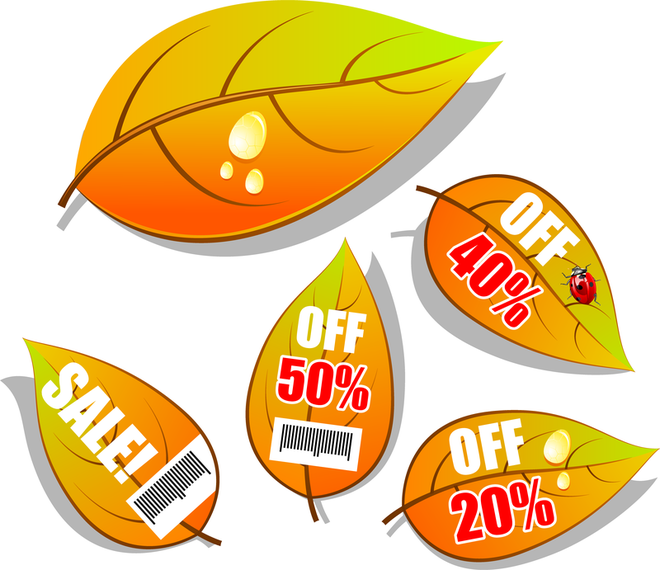 Beautiful Leaves Tag Vector