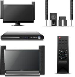 Ilustraciones de aparatos de cine en casa