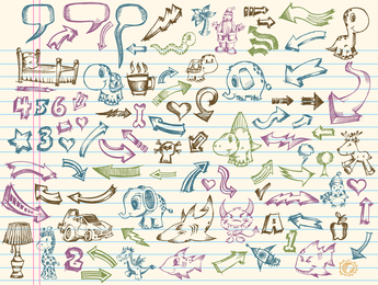 Elementos vectoriales de una colección de pintado a mano 1
