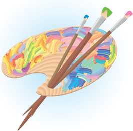 Palette And Brushes Vector