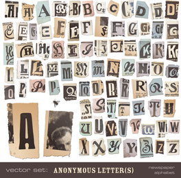Viejos Periódicos Letras 01 Vector