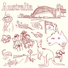 Australia And Italy Theme Vector