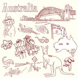 Vetor de tema de Austrália e Itália