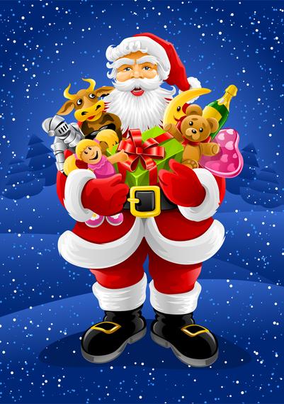 Vector Santa Claus Holding Gifts