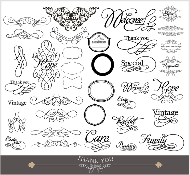 Vintage and swirly labels set