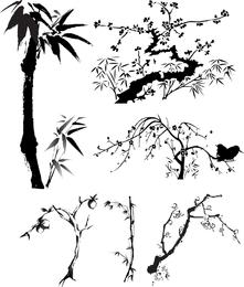 Planta de tinta china de vectores de viento