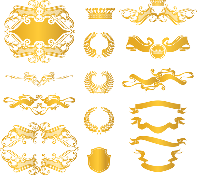 European Gold Decorative Elements Vector