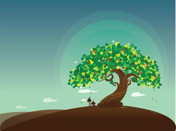 Wish Tree Vector Illustration
