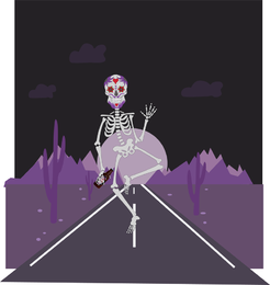 Day of the dead skeleton walking