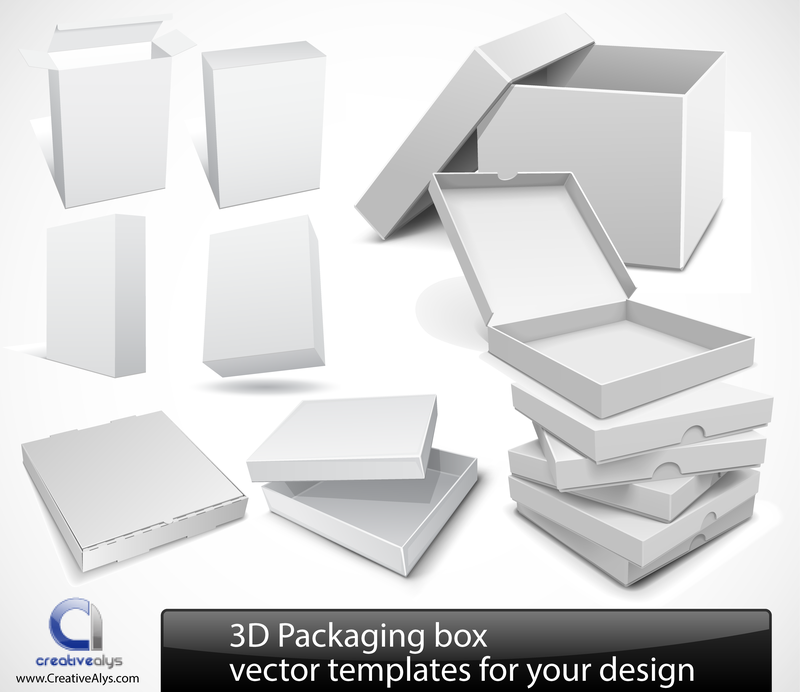 3d packaging box templates vector download
