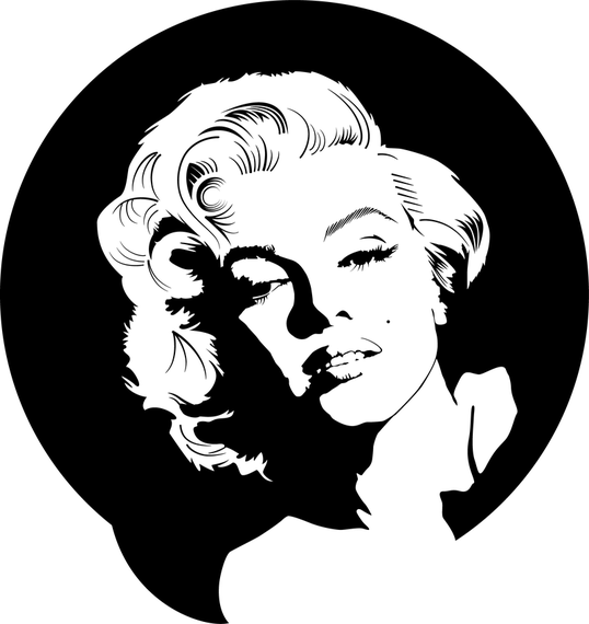 Marilyn Monroe Vector in black and white
